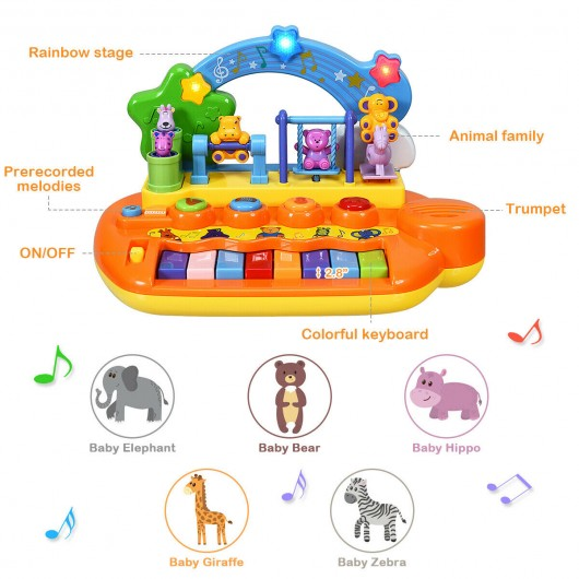 Kids 8 Keys Rainbow Piano Keyboard with Animal Playground LED Light