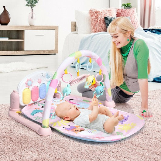 3 in 1 Fitness Music and Lights Baby Gym Play Mat-Pink