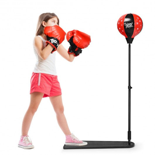 Kids Punching Bag with Adjustable Stand and Boxing Gloves