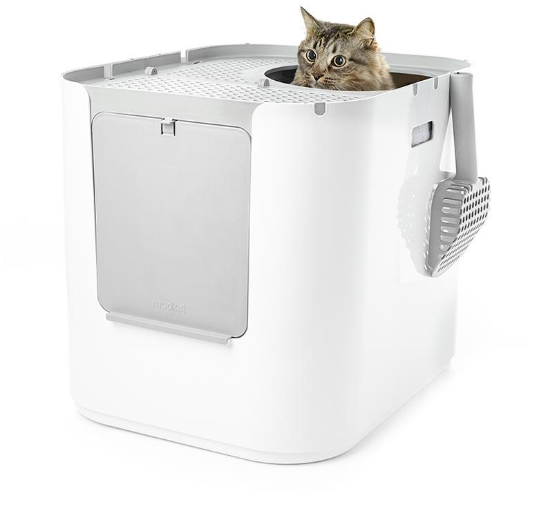 The Modkat XL Litter Box can be configured as a top-entry or front-entry litter box. This is the top-entry version.