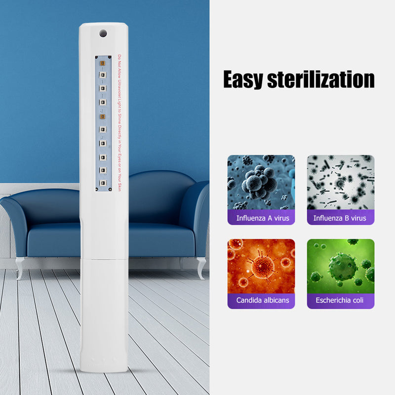 Portable 10 LED UV Sanitizer Disinfection Light Wand. Home -Travel Kill Mite Bacteria Ultraviolet Germicidal Lamp Stick