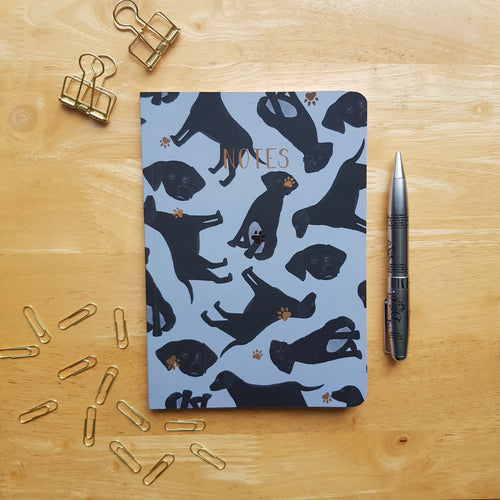 Black Labrador Foiled Notebook