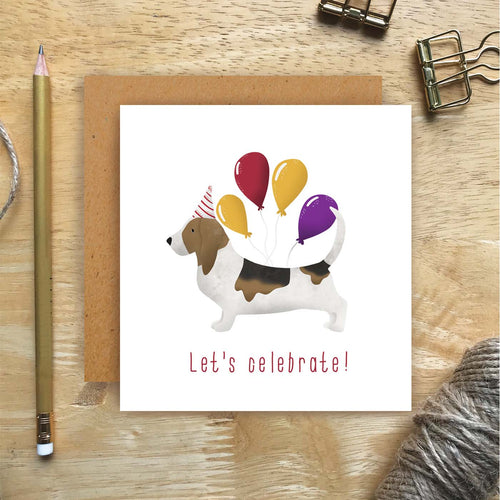 Basset Hound Let's Celebrate Card