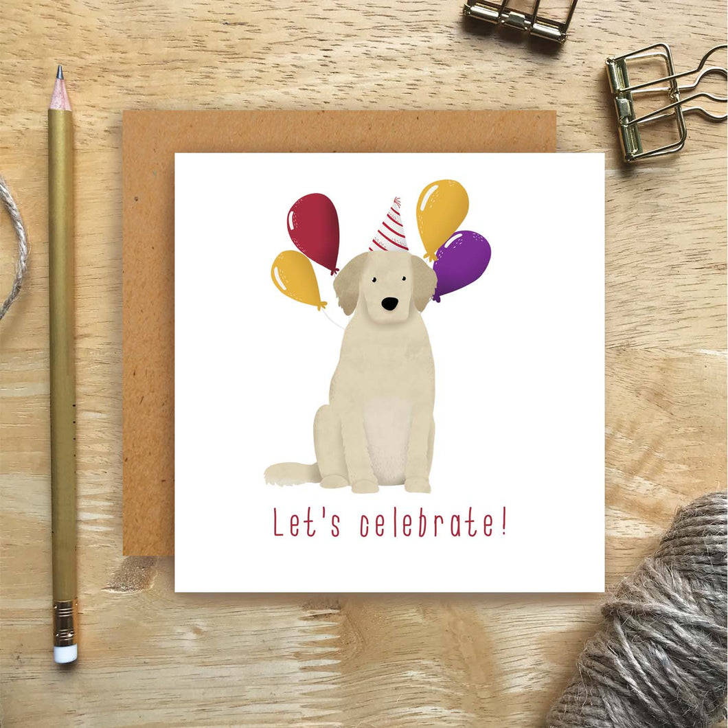 Golden Retriever Let's Celebrate Card