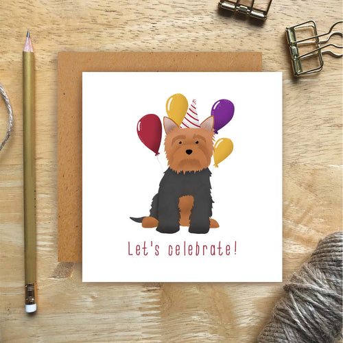 Yorkie Let's Celebrate Card