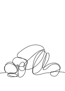 Prostrating Line Art Digital Print