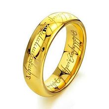 Load image into Gallery viewer, Elove Jewelry Tungsten Carbide Steel Lord Rings, Gold Tone, Size 9