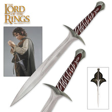 "Load image into Gallery viewer, Lord of the Rings The Sting Sword of Frodo Baggins With Wall Plaque - Engraved With Elven Runes - 22"" Length"