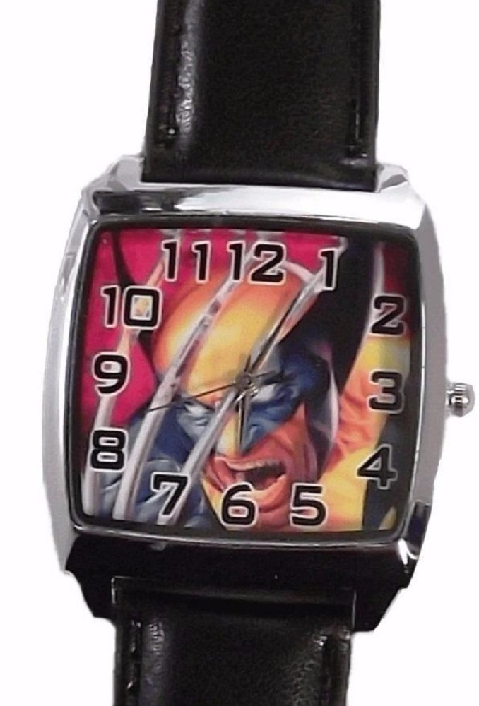 Marvel's Xmen Wolverine Black Genuine Leather Band Wrist Watch