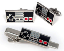 Load image into Gallery viewer, SharedImagination NES Nintendo Tie Clip, Super Nintendo Controller Cufflinks, Retro Gaming Jewelry, SNES Cuff Links, Super Mario Brothers Legend of Zelda Metroid Wedding Groomsman Groomsmen Gifts