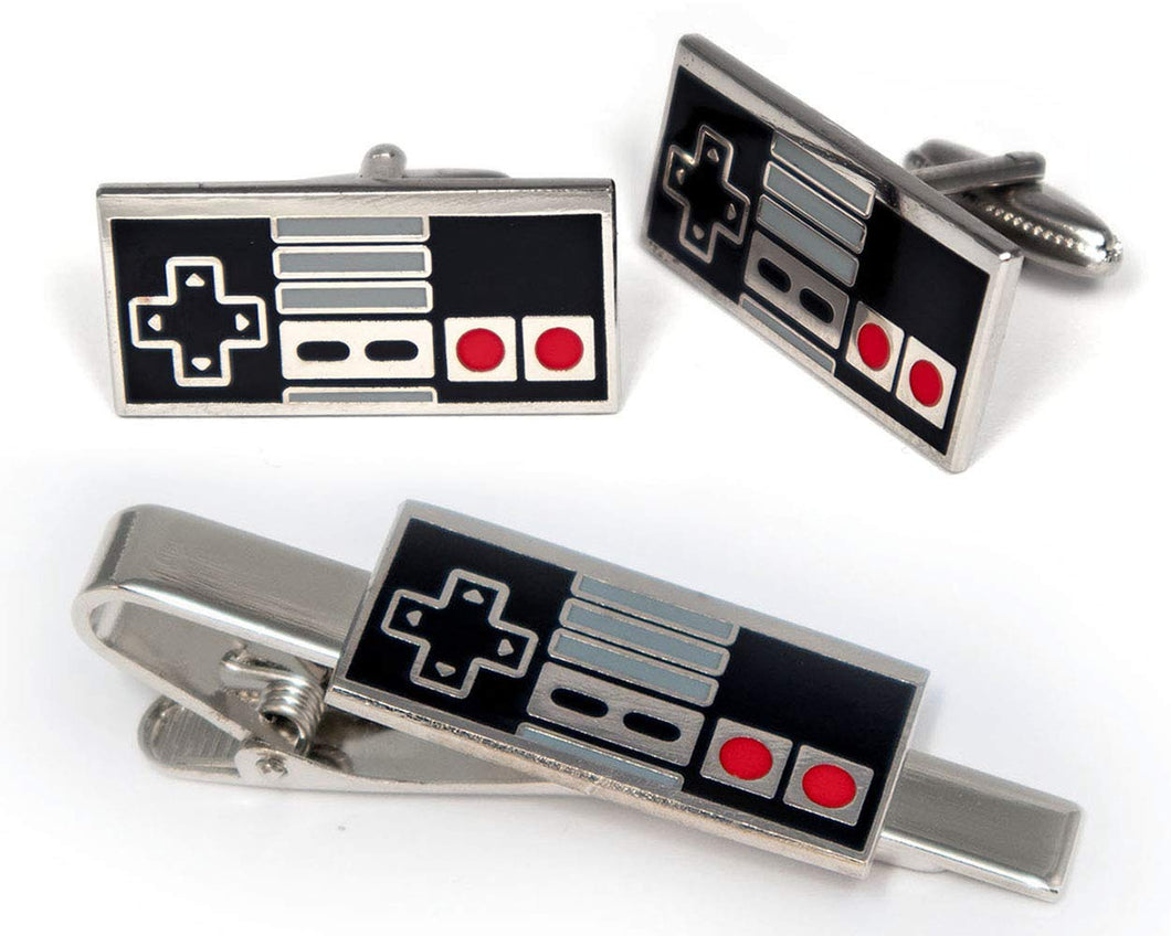 SharedImagination NES Nintendo Tie Clip, Super Nintendo Controller Cufflinks, Retro Gaming Jewelry, SNES Cuff Links, Super Mario Brothers Legend of Zelda Metroid Wedding Groomsman Groomsmen Gifts