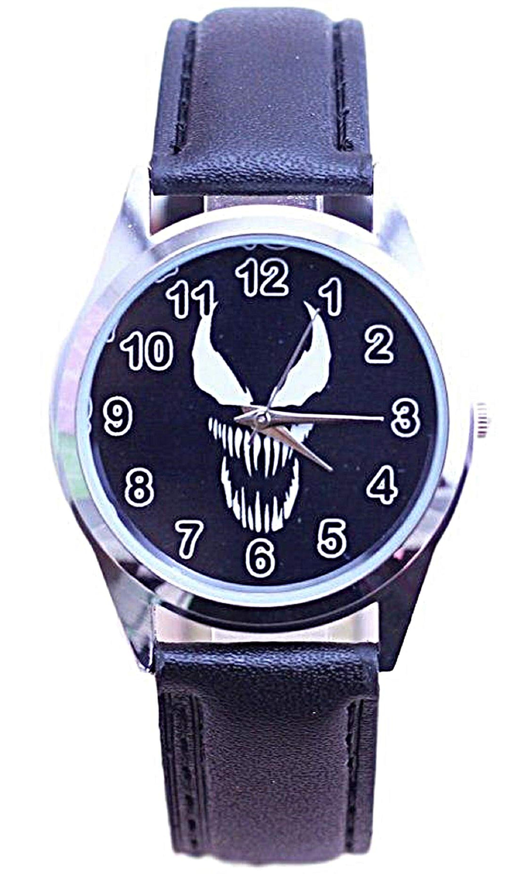 New Horizons Production Venom Mask Logo Black Leather Band Wrist Watch