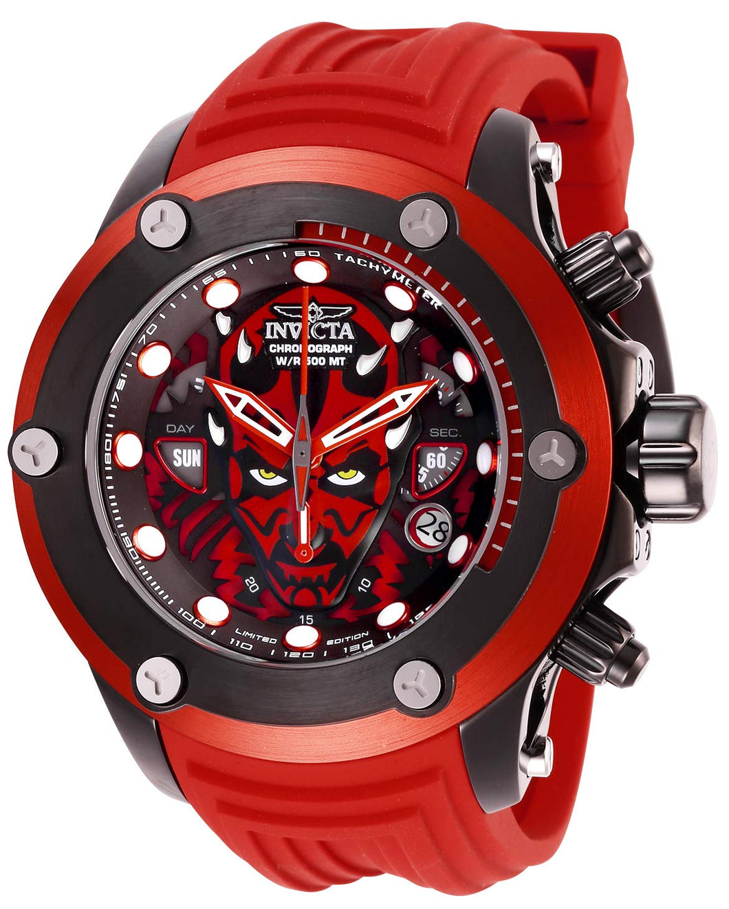 Invicta Men's Star Wars Stainless Steel Quartz Watch with Silicone Strap, red, 26 (Model: 26717)