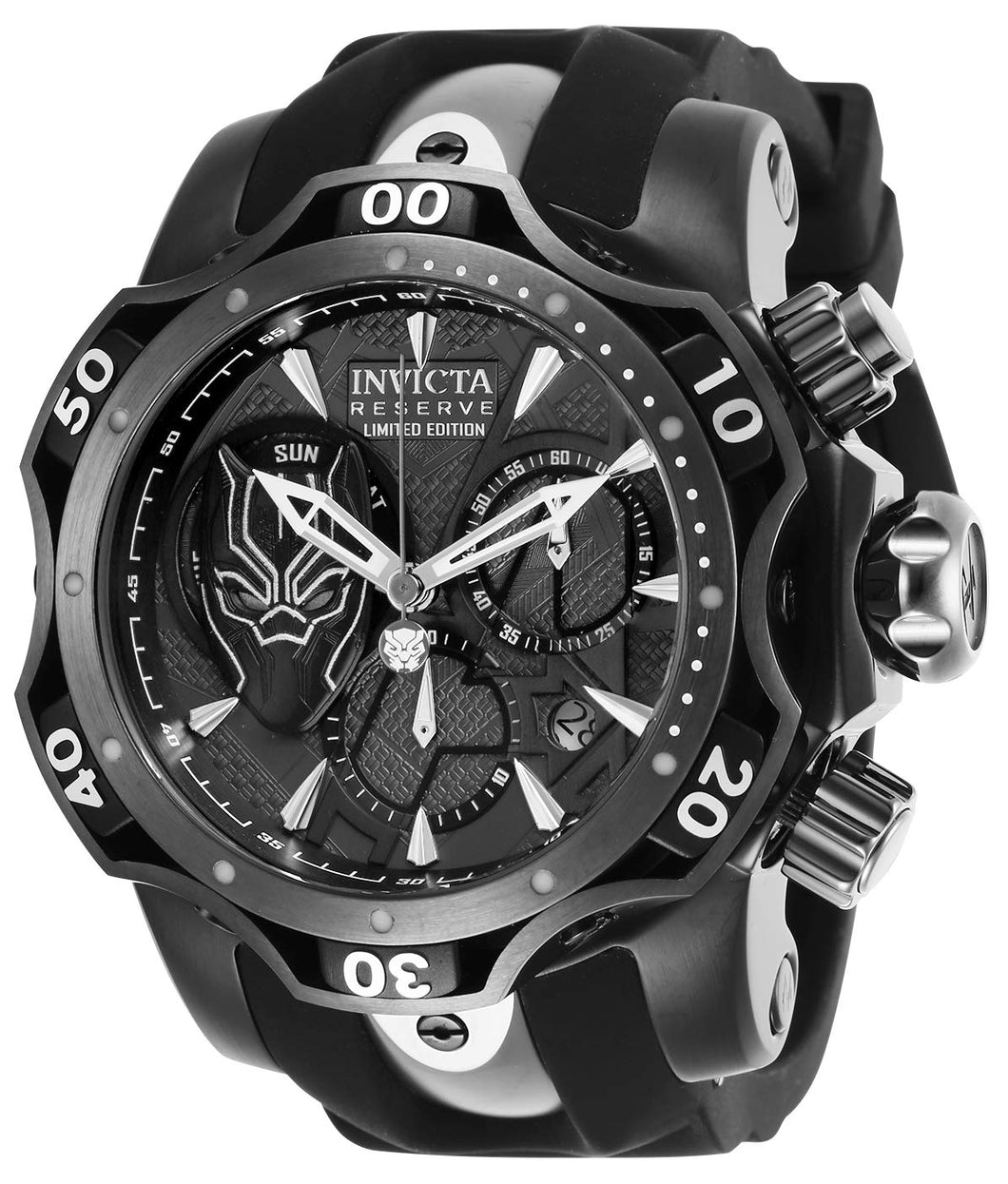 Invicta Men's Marvel Stainless Steel Quartz Watch with Silicone Strap, Black, 26 (Model: 27038)
