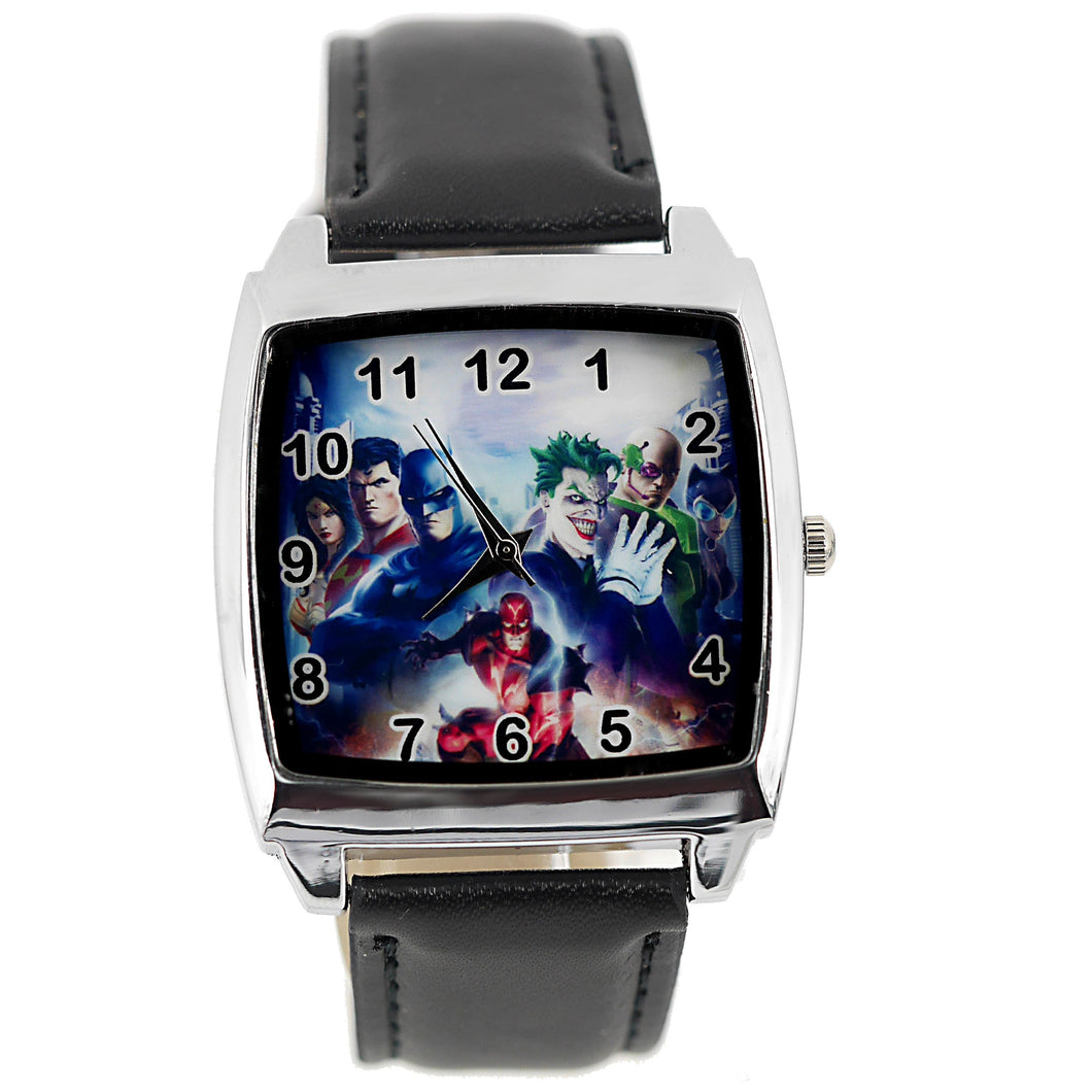 TAPORT Marvel Universe Batman Joker Superman Quartz Square Watch Real Leather Band + Spare Battery + Gift Bag Black