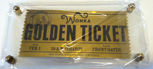 Willy Wonka Golden Ticket Prop Replica in Lucite Casing