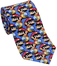 Load image into Gallery viewer, Josh Bach Mens Pixelated Plumber Video Game Silk Necktie, Made in USA