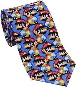 Josh Bach Mens Pixelated Plumber Video Game Silk Necktie, Made in USA