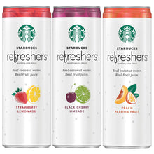 Load image into Gallery viewer, Starbucks Refreshers Sparkling Juice Blends, 3 Flavor Variety Pack with Coconut Water, 12  Fl. Oz, 12 Cans