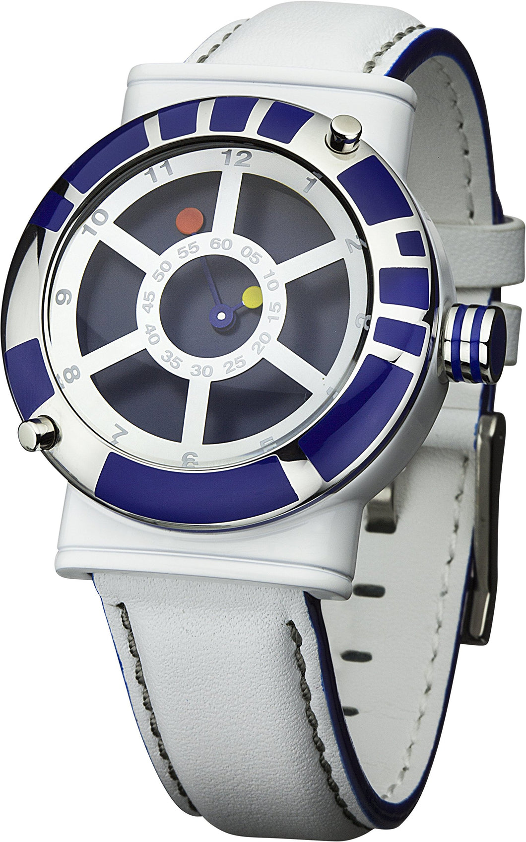 Star Wars Men's Quartz Watch With Blue Dial Analogue Display And White Leather
