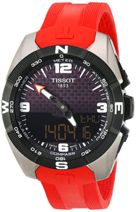 Tissot Men's 'T-Touch Expert' Swiss Quartz Titanium and Silicone Dress Watch, Color:Red (Model: T0914204705700)