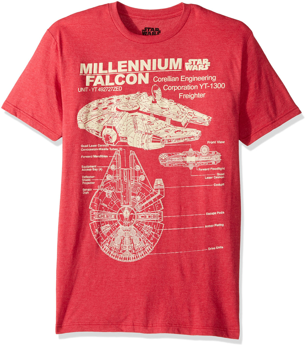 Star Wars Men's Millennium Falcon Detailed Drawing T-Shirt, Red Heather X-Large