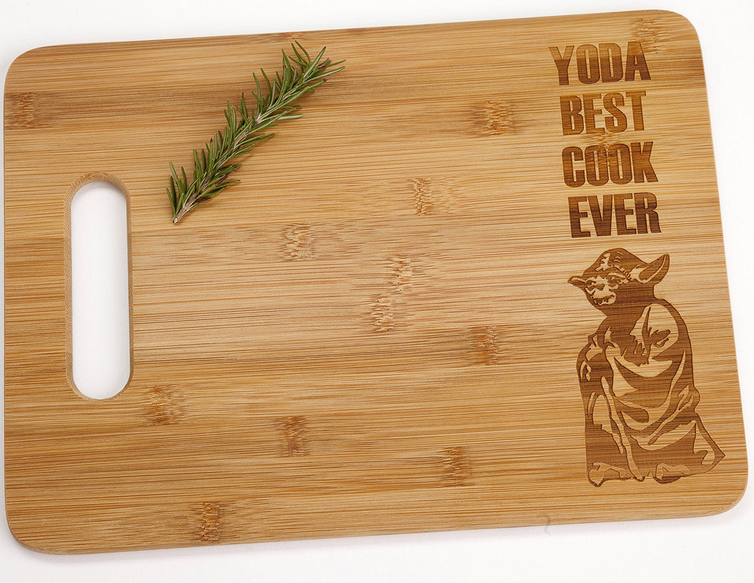 Yoda Best Cook Ever Engraved Bamboo Wood Cutting Board with Handle Star Wars Foodie Gift