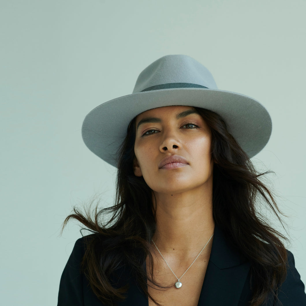 gray fedora hat womens