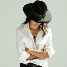 Load image into Gallery viewer, black fedora hat womens