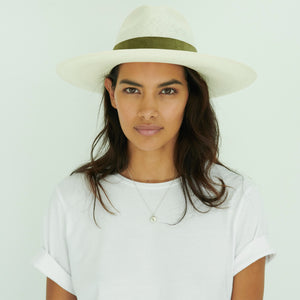 woman wearing white Panama hat with green band