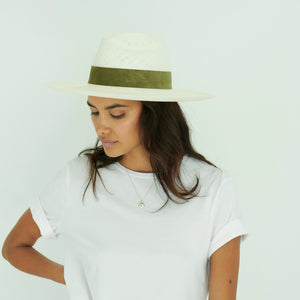 White straw Panama hat with green suede band