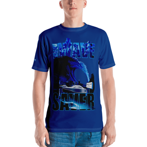 AGGRESSIVE SAVE OR SHARK PREY (Deep Blue) Men's T-shirt