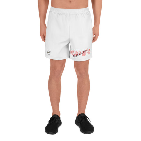 ENJOY LIFE REGARDLESS! Red Trim Men's Athletic Long Shorts