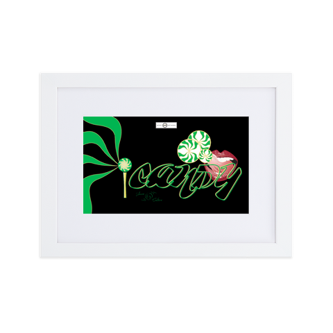 iCANDY (black) Matte Paper Framed Poster With Mat