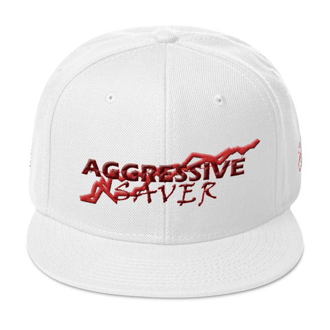 AGGRESSIVE SAVER (burgundy, white) Snapback Hat