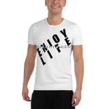 ENJOY LIFE REGARDLESS! Black/White Trim All-Over Print Men's Athletic T-shirt