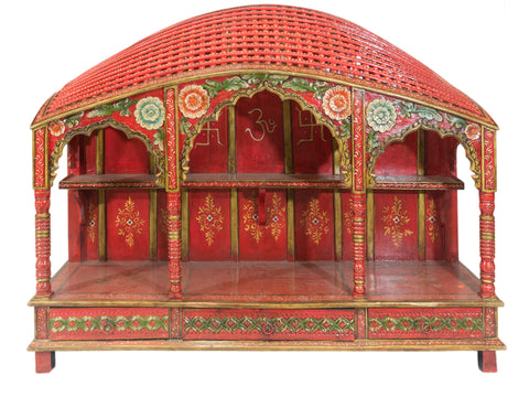 Red Mandir with Arched Weaved Patterned Roof
