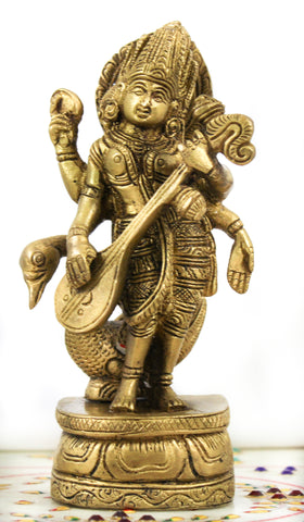 Saraswati with Peacock Brass Murti