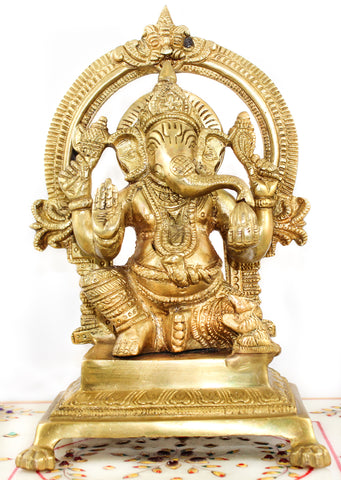 Ganesha with Arch Brass Murti