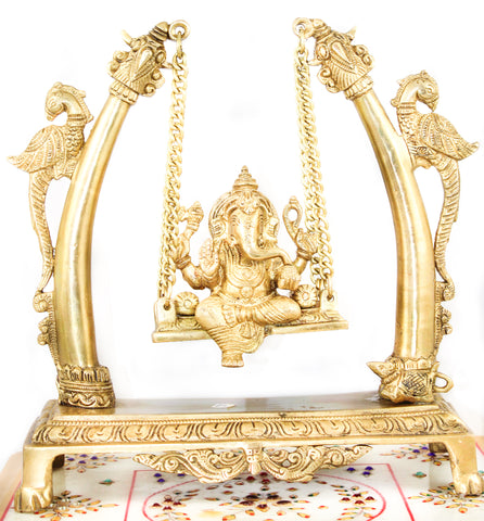 Ganesha with Jula Brass Murti