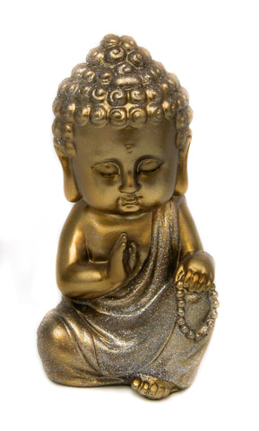Reciting Baby Buddha - Gold & Sparkling