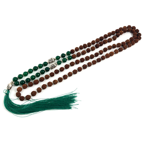Green Aventurine Mala with Rudraksha