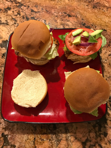 Plated grouper sliders.