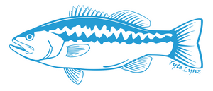 Tyte Lynz Largemouth Bass Vinyl Decal | Left Facing | Ice Blue