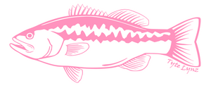 Tyte Lynz Largemouth Bass Vinyl Decal | Left Facing | Soft Pink