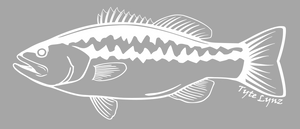 Tyte Lynz Largemouth Bass Vinyl Decal | Left Facing | White