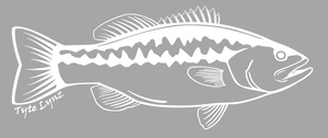 Tyte Lynz Largemouth Bass Vinyl Decal | Right Facing | White