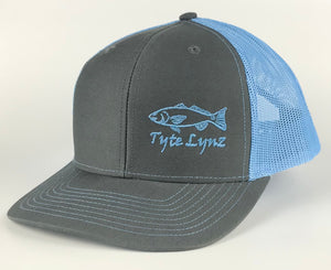 The Tyte Lynz Redfish Trucker Snap-back Hat | Charcoal/Columbia Blue