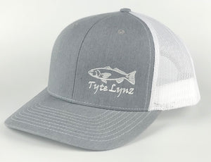 The Tyte Lynz Redfish Trucker Snap-back Hat | Heather Gray/White