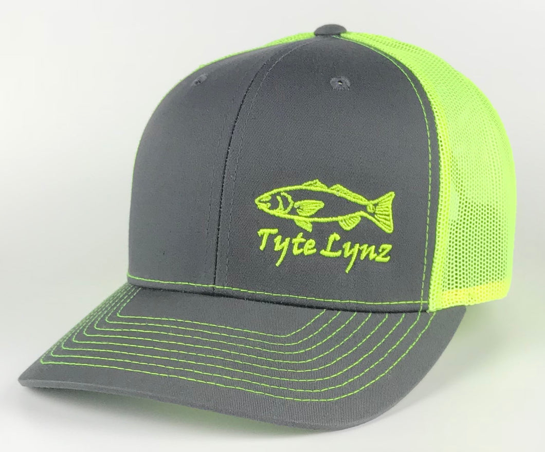 The Tyte Lynz Redfish Trucker Snap-back Hat | Charcoal/Neon Yellow